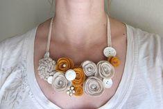 Items similar to Felt Flower Bib Necklace - Reclaimed Flower Cluster Necklace on Etsy Felt Necklace, Button Necklace, Scarf Necklace, Fabric Necklace, Cluster Necklace, Fabric Jewelry, Diy Necklace, Flower Necklace, Necklaces