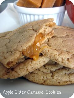 fall cookies: Apple Cider Caramel Cookies Recipe
