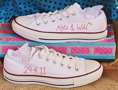 Personalized hand-embroidered Converse by StitchesLace, £70.00