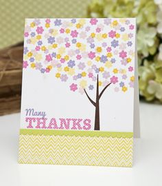 Floral Tree Thanks Card by Ashley Cannon Newell for Papertrey Ink (July 2013)