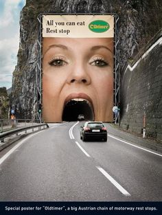 "Interactive outdoor advertising poster for ""Oldtimer"", a big Austrian chain of motorway rest stops. (via Mr. Yosukezan)"