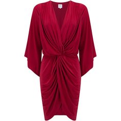 MISA Los Angeles Teget Bell Long Sleeve Twist Dress - Red ($90) ❤ liked on Polyvore featuring dresses, red, purple dress, knot dress, red sleeve dress, long sleeve dresses and sleeved dresses