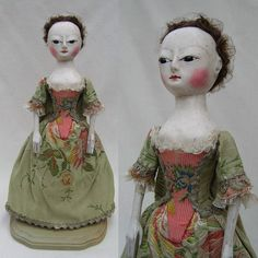 Old Pretender Queen Anne Style Wood Doll Handcarved Handcrafted David Paul | eBay