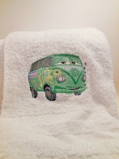 Disney Cars Fillmore Embroidered Hand Towel by snowypalmscrafts, $7.00