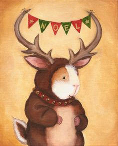 Ferdinand the Reindeer Christmas guinea pig by WhenGuineaPigsFly, $10.00