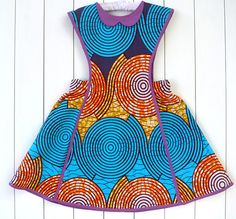 Kicky Baby: African Fabric Dress / Girl Pinafore Dress / Toddler Summer
