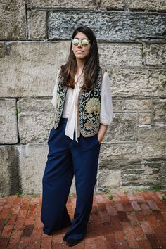 25 Laid-Back Festival Looks You Can Copy This Week #refinery29 http://www.refinery29.com/newport-folk-festival-2015-street-style#slide-2 Olivia Harrington's embroidered vest is a great layering piece for any season or occasion....