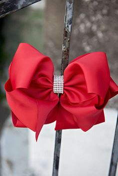 The Hair Bow Company | Elegant Rhinestone Centered Looped Knot Solid Hair Bows for Girls