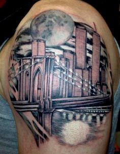 Brooklyn Bridge NYC Skyline Tattoo by Alecia #Tattoos #NYC #Skyline http://tattoopics.org/brooklyn-bridge-nyc-skyline-tattoo-by-alecia/