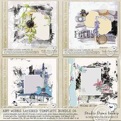 Art Works Layered Template Bundle 04 #dawninskip #scrapbookgraphics #artjournal #template #handmade #illustrations #artsy #artworkstemplates