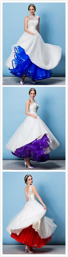 Adding color to wedding gown with a slip!