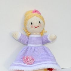 Day or Evening Doll Topsy Turvey Doll Hand Knit Toy by bonniebear