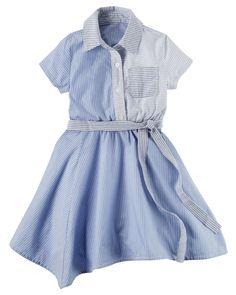 Kid Girl Poplin Handkerchief-Hem Shirt Dress | Carters.com