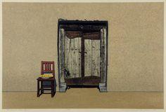 Hodaka Yoshida, a multi open door 1982 Woodblock Print, Contemporary Artists, Illustrations Posters, Printmaking, Japanese, Landscape, Drawings, Prints, Pictures