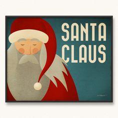 16x20 Santa Claus Minimalist Christmas Poster Art Print.