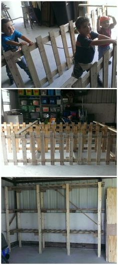 Pallet shelves = Robert, I think this is something we can do for the garage.