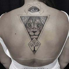 triangle lion tattoo üçgen aslan dövmesi