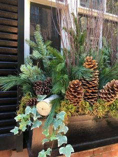 Window Boxes: Winter and Holidays ⋆ Wisteria & Rose Christmas Window Boxes, Winter Window Boxes, Christmas Planters, Fall Planters, Christmas Porch, Outdoor Christmas, Fall Potted Plants, Cedar Window Boxes, Window Box Plants