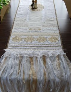 Love is the Thread  Vintage Lace and Burlap by LaPetitePrairie, $352.00
