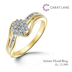 Artistic Floral Ring - Sometimes ordinary won't work, then the Artistic Floral Ring comes in handy. Dazzling diamonds clustered in floral form are held between split-shank crossover band. http://www.caratlane.com/artistic-floral-diamond-ring-0-26-ct-18k-yellow-gold-jr00322-ygp900.html?utm_source=Facebook_medium=ODigMa+Posts_campaign=Jewellery_content=JR00322-YGP900_source=Pinterest_medium=ODIgMa+Pins_campaign=Jewellery_content=JR00322-YGP900