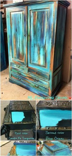 Use the Bermuda blending paint technique to create some startling contrasts with teal. shabby chic furniture chic furniture diy chic furniture living room chic furniture for sale Funky Furniture, Refurbished Furniture, Colorful Furniture, Paint Furniture, Shabby Chic Furniture, Furniture Makeover, Antique Furniture, Outdoor Furniture, Log Furniture
