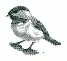 Blackwork Chickadee Embroidery Kit - a Hand Embroidery Design as an Alternative to Cross-stitch.