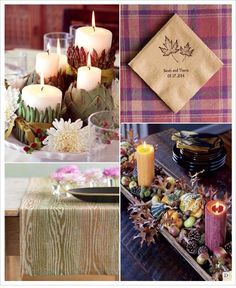 automne decoration table bougie feuilles raison chemin de table ...
