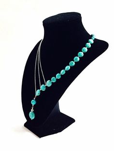 Asymmetrical turquoise necklace with silver chains, statement necklace, beadwork, bib necklace, stone and chain necklace, beaded turquoise by BijouxDesignsStudio on Etsy