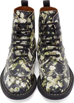 Givenchy Black Floral Brogued Boots
