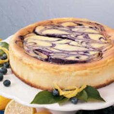 Blueberry Swirl Cheesecake  http://www.tasteofhome.com/Recipes/Blueberry-Swirl-Cheesecake-3