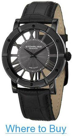 84512c3cd25 Amazon.com  Stuhrling Original Winchester Mens Black Watch - Swiss Quartz  Analog Date Wrist Watch for Men - Black IP Stainless Steel Mens Designer  Watch ...