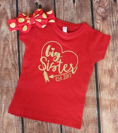 READY TO SHIP - Size 4T - Big Sister Shirt and Matching Headband - Big Sister Shirt - Future Big Sister - Big Sister to be by VazzieTees on Etsy https://www.etsy.com/listing/467614682/ready-to-ship-size-4t-big-sister-shirt DISCOUNT code ANNABELLE15 on all Vazzie Tees purchases