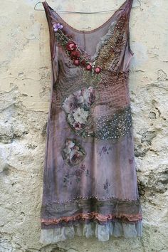 Heather-- light whimsy bohemian inspired slip, altered, textile collage, wearable art, hand beaded