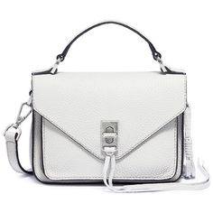 Rebecca Minkoff 'Mini Darren' leather messenger bag ($245) ❤ liked on Polyvore featuring bags, messenger bags, grey, urban messenger bag, mini messenger bag, gray leather messenger bag and gray messenger bag
