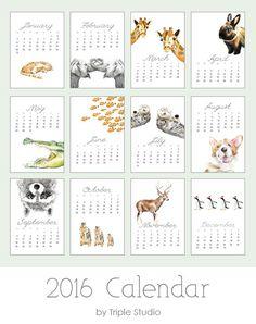 2016 Calendar - Animal Art - Desk or Wall Calendar - 5x7 - Nursery Arts - Gift for Kid, Coworkers - New Year Gift