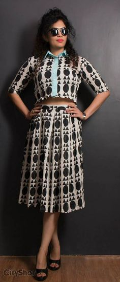 Crop shirt and skirt same print black and white by AN'S