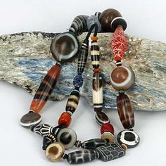 Mixed Dzi & Decorated Stone Beads -   Mixed Agate Carnelian Amber Sapphire Coral - Pakistan & Himalayan Traded