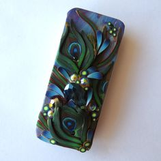 Blue Peacock Feather Slide Top Tin Sewing Needle Case by Claybykim