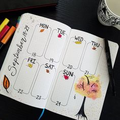 """Timid Bujo (@timid.bujo) on Instagram: """"SEPTEMBER   Weekly My spread for next week inspired by @moonlight_cabin . Can't believe it's mid-…"""""""
