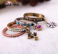 Accesorios de moda cruz tallada conjunto de la vendimia de las mujeres anillo de la Fábrica Al Por Mayor