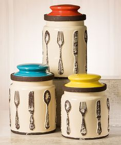 Another great find on #zulily! Sag Harbor Flatware-Print Canister Set by Global Amici #zulilyfinds
