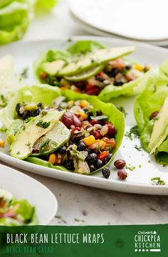 Easy, healthy and delicious, this Black Bean Lettuce Wrap recipe is carb light and features avocado, lime, cilantro, Cedar's Black Bean Salad and Cedar's Mild Salsa.