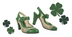 The green and ivory color of these Lillie Pumps by Re-Mix match Irish Polka perfectly.