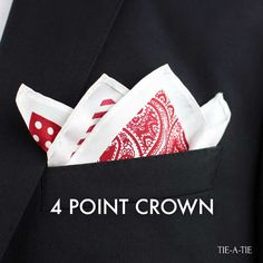 A classic: The 4-point crown pocket square fold.