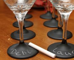What a genius idea, no more grabbing the wrong glass or remembering which charm you are! Deb, from Just Short of Crazy made this super easy tutorial! What an awesome gift this would be for a wedding shower or birthday gift! Note: These wine glasses are NOT dishwasher safe, you