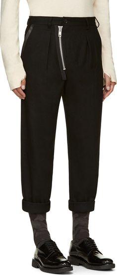 Yohji Yamamoto Black Wool & Leather Angled-Zip Trousers