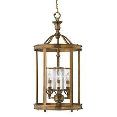 Hinkley Lighting H4184 Natural Brass 3 Light Indoor Lantern Pendant #HinkleyLighting #Traditional