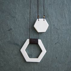 White Glazed Porcelain Hexagon Pendant Duo by StudioLorraine, $52.00