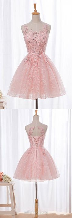 Pretty Pink Prom Dresses,A-line Short Homecoming Dresses,Scoop Neck Lace Girls Party Gowns,Tulle Short/Mini Beading Cocktail Dress