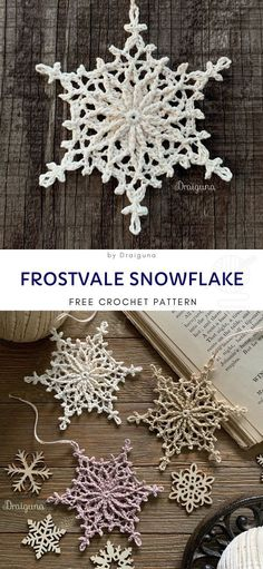 Snowflakes Crochet Decorations for Winter Frostvale Snowflake Pattern Great for adventurous begginers - you just need some leftover yarn and a little bit of patie. Crochet Stars, Crochet Snowflakes, Crochet Doilies, Crochet Ornaments, Crochet Angels, Sewing Patterns Free, Free Sewing, Knitting Patterns, Yarn Crafts